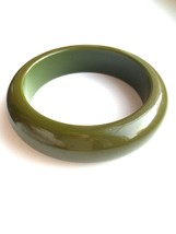RARE 50s Genuine Bakelite Army Olive Green Chunky Beautifully Domed Bangle Brace - $53.00