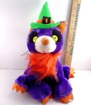 "Halloween Plush Purple Scary Cat Green Witch Hat Bushy Orange Fur 12"" St... - €8,41 EUR"