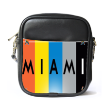Sling Bag Leather Shoulder Bag The Miami Marlins Logo Rainbow American B... - $14.00