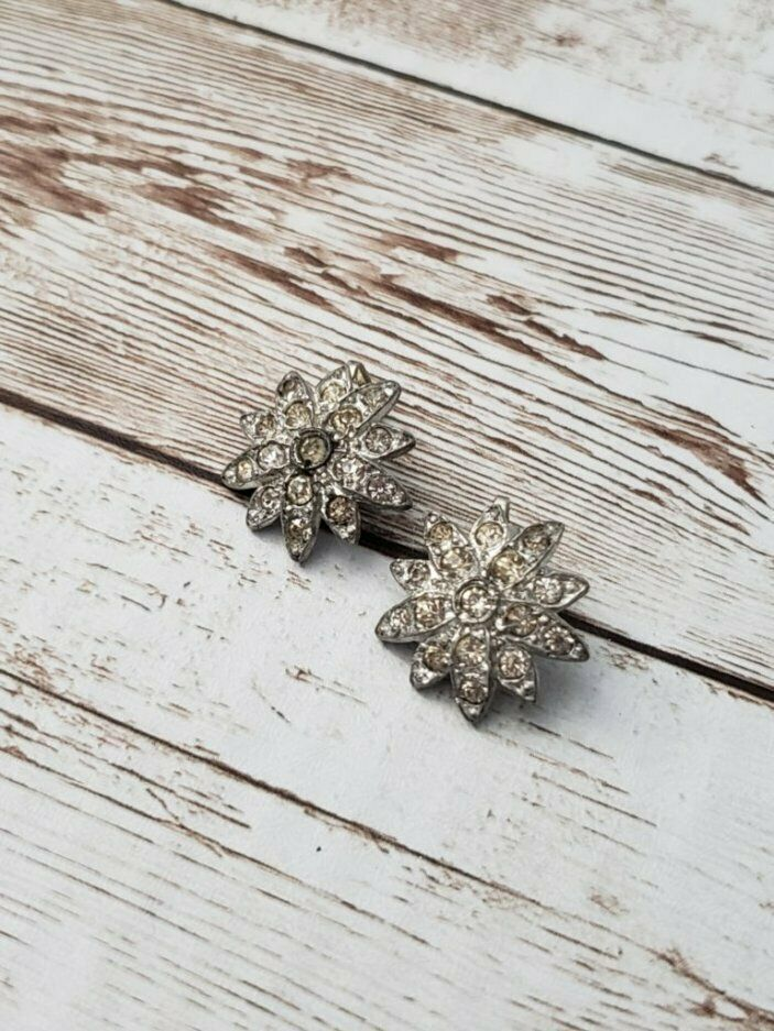Primary image for Vintage Clip On Earrings Silver Tone with Clear Stones Flower