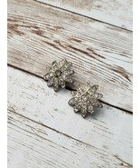 Vintage Clip On Earrings Silver Tone with Clear Stones Flower - $8.99