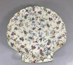 "Corona Andrea Sadek Floral Sea Shell Platter Green Trim 12 1/2"" Made in ... - £27.22 GBP"
