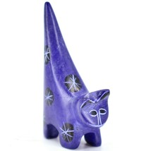 Vaneal Group Hand Crafted Carved Soapstone Tiny Miniature Dark Blue Cat Figurine