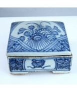 Antique Chinese Blue and white porcelain Stamp Box - $140.25