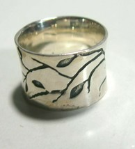 VINTAGE LARGE WIDE LEAVES & BRANCHES STERLING SILVER NATURAL EARTHY RING - $125.00