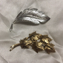 Lot Of 2 Feather And Leaves Pin Brooches