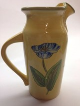 Blue Sky Ceramic Yellow Floral Water Pitcher Jug Curled Lip CY17048 Flow... - $13.98