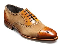 Handmade Men's Brown Leather Tan Suede Brogue Two Tone Dress/Formal Oxford S image 3