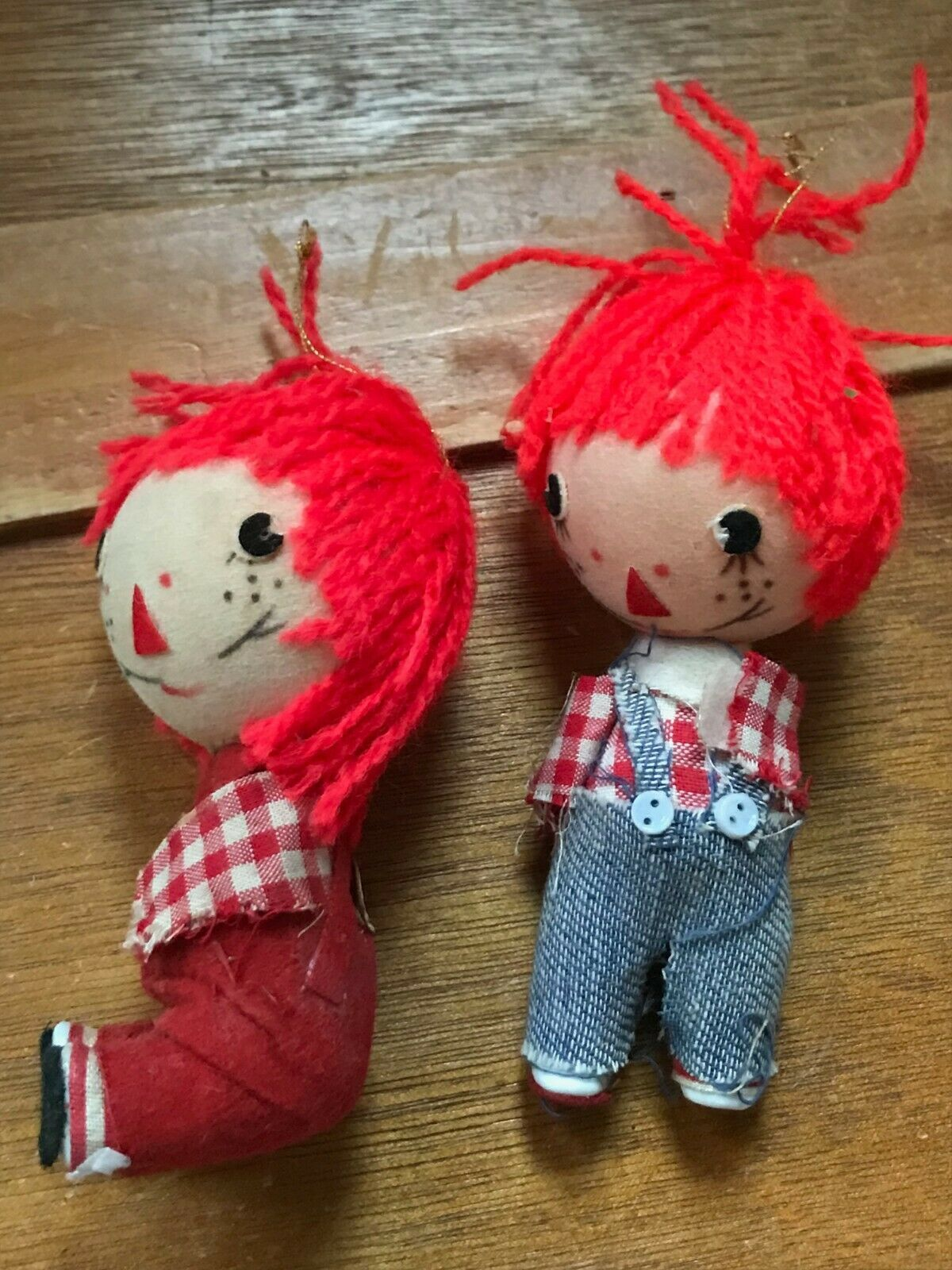 Vintage Pair Lot of Raggedy Ann & Andy Christmas Tree Ornaments – made in Hong  image 6
