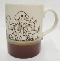 Otagiri Playful Puppies Pup Dogs Coffee Mug Two-Tone Brown Cute - $14.84