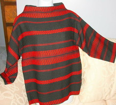 Vintage Womens Black Red Woven Sweater Sz M - $29.39