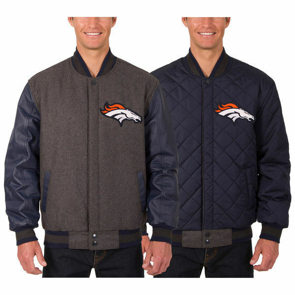 Denver Broncos Wool & Leather Reversible Jacket with Two Embroidered front Logos - $219.99