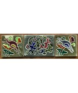 3 Vintage Warner Prins Ceramic Pottery Tiles Signed, Abstract Shapes #3 - $28.40