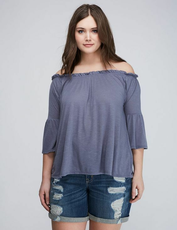 Primary image for NWT! Lane Bryant OFF-THE-SHOULDER TOP BELL SLEEVE GRAY