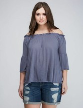 NWT! Lane Bryant OFF-THE-SHOULDER TOP BELL SLEEVE GRAY - $22.99