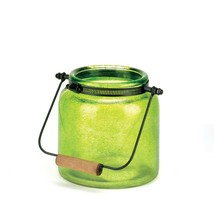 *16683B  Green Glass Jar Candle Holder Lantern w/Handle - $21.05
