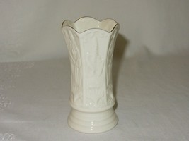 Belleek Ireland China Small Porcelain Vase Vintage Embossed Gold Trim - $14.84