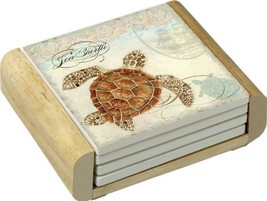CounterArt Sea Turtle Design Absorbent Coasters in Wooden Holder, Set of 4 - $33.99