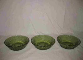 Lot Of 3 Avocado Green Anchor Hocking SORENO Glass Dishes Bowls - $28.84
