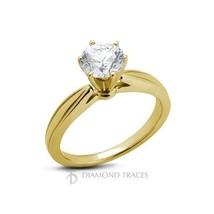 1.10ct E-SI2 Ideal Round Genuine Diamond 14k Gold Cathedral Solitaire Ri... - $3,535.66