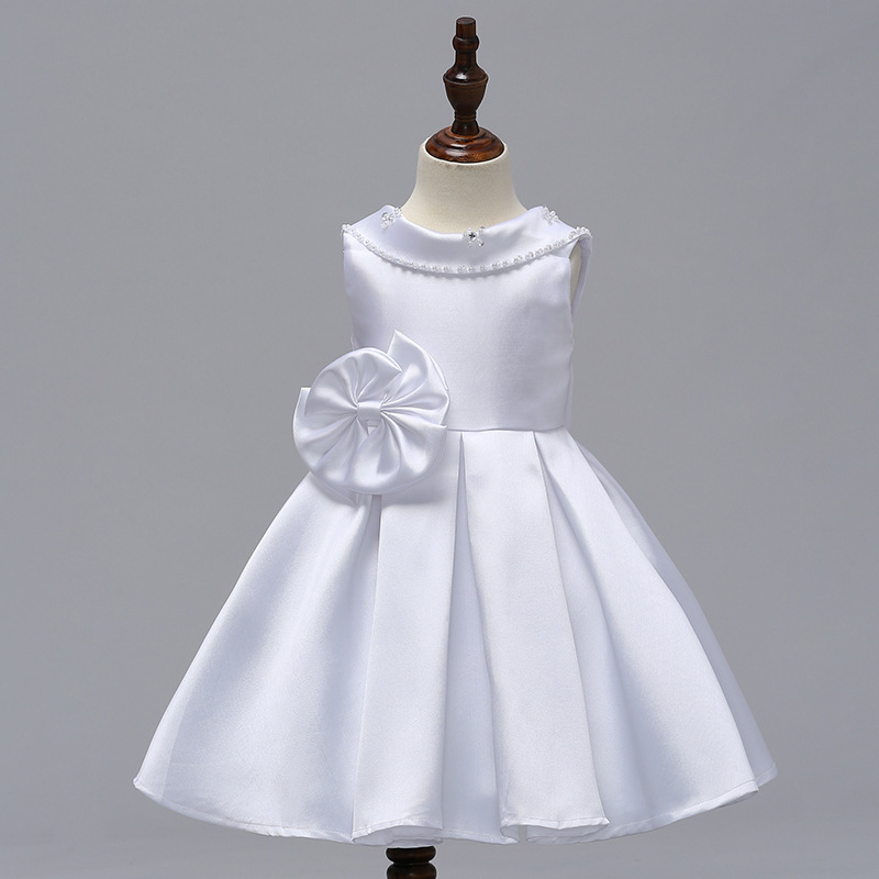 White  Satin Short Flower Girl Dress Scoop Kids Evening Gowns 2019 Newly Kids image 2