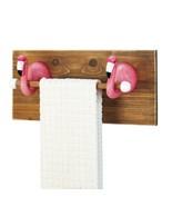 *18232B  Pink Flamingo Kitchen Bath Wood Towel Holder - $25.95