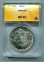 1904-O MORGAN SILVER DOLLAR ANACS MS 63 WHITE NICE ORIGINAL COIN FAST SH... - $72.00