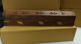 Coffin Incense Burner Brown with Brass Elephants Carved Wood Cones & Sticks