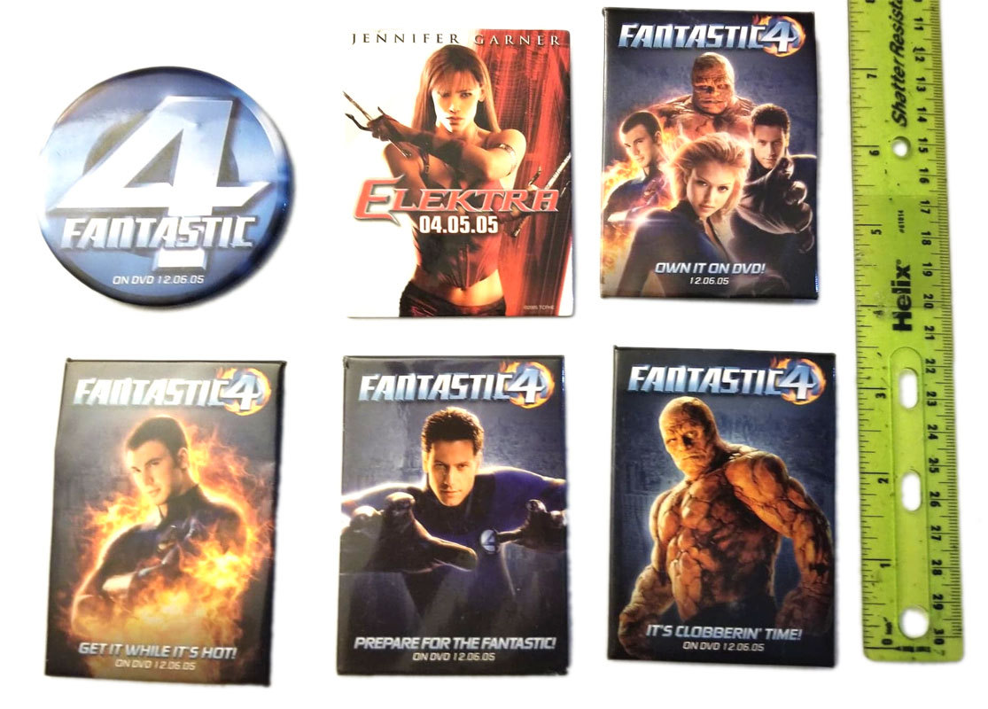 Fantastic Four / Elektra Set of (6) Promotional Pin Back Buttons / Pins
