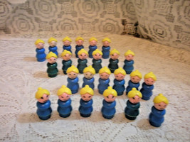 Vintage Fisher Price Little People Play family Blue Mom with yellow pony... - $23.76