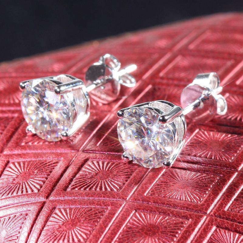 14k White Gold Finish 2Ct Round Cut White Diamond Halo Drop//Dangle Earring