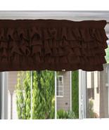 Chiffon CHOCO BROWN Ruffle Layered Window Valance any size - $29.99+