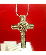 "Lot of 10 pendent 2"" crosses with white rhinestones on a silver color chain - $9.89"