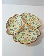 Vintage Chintz Floral 3 H Section Relish Tray Marked Made in Japan - $36.83