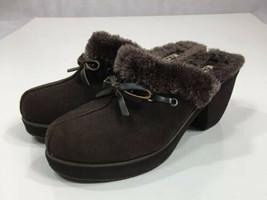 Skechers 46924 Brown Leather Suede Heels Fur Lined Slip On Mule Clogs Women's 10 - $27.78