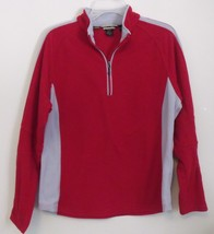 Womens North End Red Gray Long Sleeve Fleece Quarter Zip Shirt Size Large - $8.95