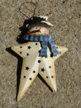 OR-349 Snowman Blue Scarf Metal Christmas Ornament - $1.95