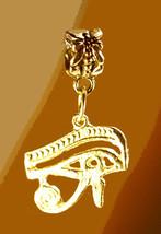 WOW 24kt gold pltd Sterling Silver Right Eye of Horus Sun RA European BEAD Egypt - $19.84
