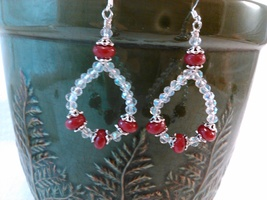 Ruby and Crystal Loop Earrings Handmade Wire Wrap by Deboriah - $24.99