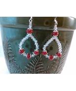 Ruby and Crystal Loop Earrings Handmade Wire Wrap by Deboriah - $24.99