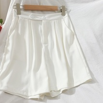 New white casual pleated high waisted women shorts with pockets spring s... - $34.00