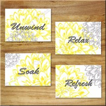 Gray and Yellow Wall Art Prints Floral Decor Bathroom Unwind Relax Soak ... - $13.99