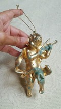 Chippy Gold Angel Christmas Tree Ornament •  Green under gold paint expo... - $5.68