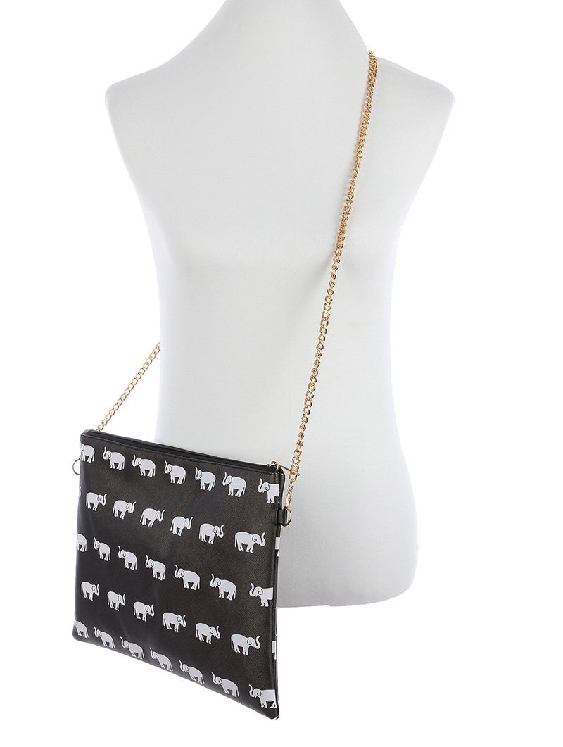 Large Elephant Clutch Purse Cross Body Bag W/ Removable Strap (Multi Black)