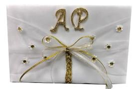 Wedding or Birthday Signature Guest Book with Rhinestone Gold Rhinestone... - $39.97