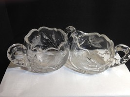 Brilliant Cut & Pressed Late Period Creamer Sugar Large Butterfly & Flow... - $23.95