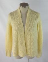Ann Taylor Loft Ivory Cream Mohair Wool Fuzzy Knit Open Cardigan Sweater Top M - $18.80