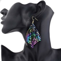 Hot Metal Sequins Long Drop Earring For Women - $14.70