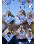30' Long Square / Diamond Acrylic Crystal Garland Strand Hanging Wedding... - $28.99
