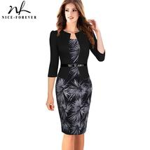 Nice-forever One-piece Faux Jacket Brief Elegant Patterns Work dress Off... - $70.15+